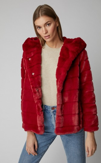 Apparis Goldie II Faux Fur Jacket in Burgundy | fluffy hooded winter jackets