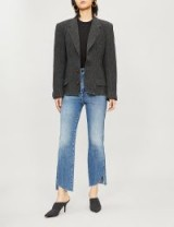 GOOD AMERICAN Good Curve raw-hem high-rise straight jeans in blue264 ~ rough asymmetric hems