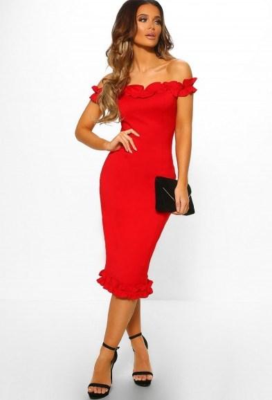 PINK BOUTIQUE Grace Kelly Red Ruffle Trim Bardot Midi Dress – OFF SHOULDER BODYCON - flipped
