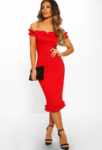 PINK BOUTIQUE Grace Kelly Red Ruffle Trim Bardot Midi Dress – OFF SHOULDER BODYCON