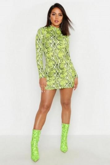 boohoo Green Snake Print High Neck Mini Dress ~ glamorous bodycon