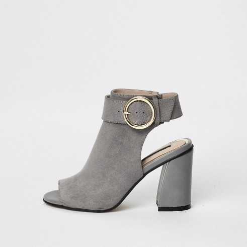 RIVER ISLAND Grey buckle strap ankle shoe boots ~ chunky cut-out boot