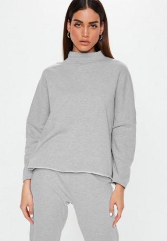 MISSGUIDED grey high neck drop shoulder sweatshirt – sweat tops