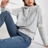 RIVER ISLAND Grey knitted long sleeve crop hoodie | casual luxe-style hoodies