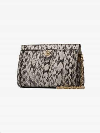 Gucci Cream Ophidia Snake Skin Print Leather Shoulder Bag ~ chic chain strap bags