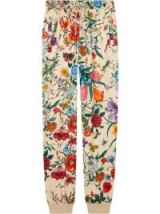 GUCCI Jogging pant with Flora print in Ivory – beautiful flower prints