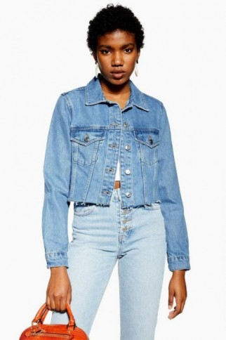 TOPSHOP Hacked Fitted Denim Jacket ~ casual raw hem jackets