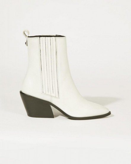JIGSAW HEATH LEATHER COWBOY BOOT IN WHITE / western boots