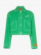 Heron Preston CTNMB Embroidered Cropped Denim Jacket in Green