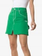 Heron Preston High Waisted Green Denim A-Line Skirt