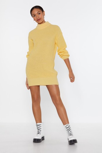 nasty gal Holy Knit Turtleneck Sweater Dress in lemon ~ yellow knitted dresses