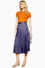 Topshop Horse Coin Wrap Midi Skirt in Navy Blue