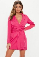 MISSGUIDED hot pink extreme wrap belted blazer dress ~ bright going out fashion