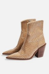 TOPSHOP HOWDIE Western Boots in Natural – point toe cowboy boots