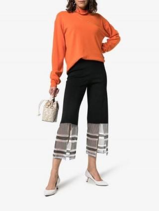 i-am-chen Cropped Front Split Detail Trousers in Black | sheer hem pants