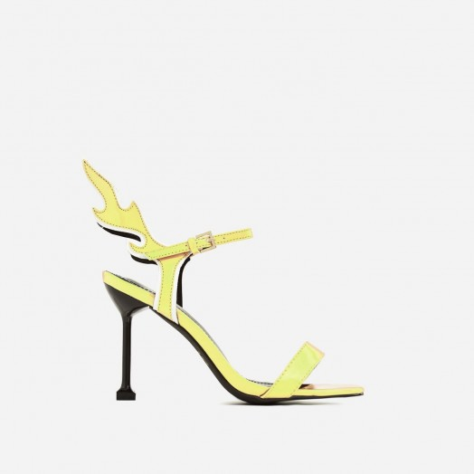 EGO Iggy Flame Detail Heel In Yellow Patent