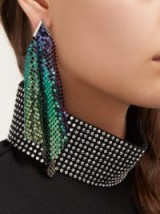 CHRISTOPHER KANE Iridescent-chainmail drop earrings ~ multi-coloured drops