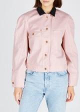 ISABEL MARANT Iolana puff-sleeve denim jacket in light-pink