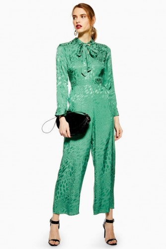 Topshop Jacquard Jumpsuit in Green