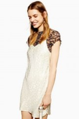 Topshop Jacquard Mini Slip Dress in ivory | cami strap dresses