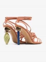 Jacquemus Salmon Pisa 110 Ornament Heel Strappy Suede Sandals ~ mismatched heels