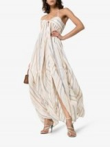Jacquemus Stripe Embroidered Tie Back Halterneck Maxi Dress in Beige ~ vacation glamour