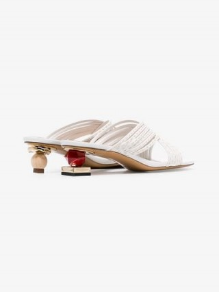 Jacquemus White Castana 35 Crossover Stack Heel Leather Sandals – mismatched heels