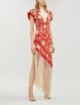JOHANNA ORTIZ Asymmetric fringed embroidered silk-crepe dress in carmine red | plunge front necklines