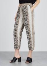 JOIE Ceylon python-print chiffon trousers – cropped snake-print pants