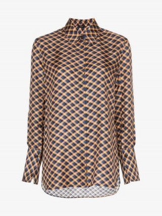Joseph Mason Checked Silk Shirt / luxury check print shirts