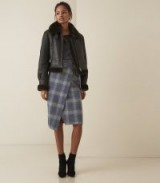 Reiss JOSIE CHECKED WRAP FRONT SKIRT in BLUE CHECK