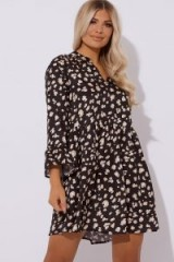 IN THE STYLE JULIETE BLACK LEOPARD PRINT SATIN SMOCK DRESS