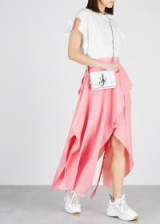 JW ANDERSON Pink brushed twill wrap skirt ~ layered asymmetric skirts