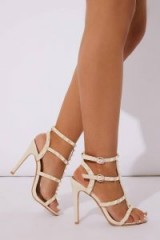 IN THE STYLE KASANDRAH NUDE PU STUDDED HEELS ~ strappy sandals