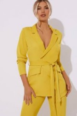 IN THE STYLE KENDAEL CHARTREUSE TIE SIDE BLAZER ~ yellow longline jacket