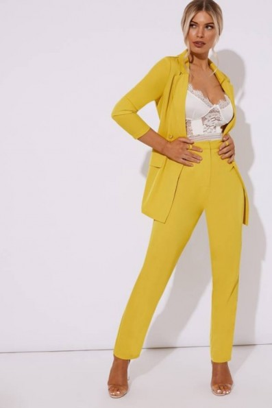 IN THE STYLE KENDAELL CHARTREUSE CIGARETTE TROUSER ~ yellow suit trousers