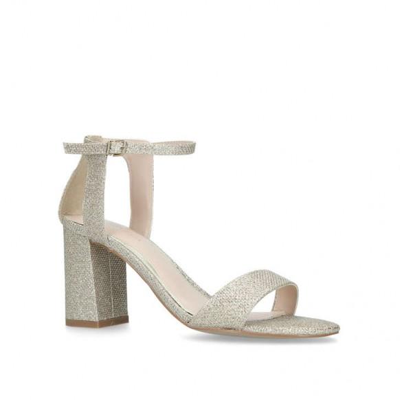 CARVELA KIKI Metallic Gold Block Heel Sandals – luxe party shoes