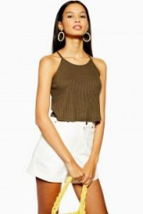Topshop Knitted Halter Neck Top in Khaki | essential summer style