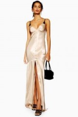 Topshop Lace Insert Slip Maxi Dress in Champagne | retro glamour