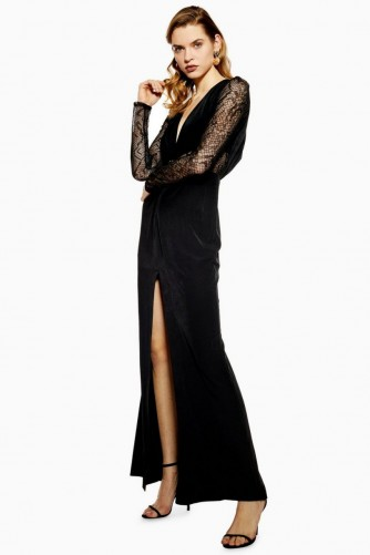 TOPSHOP Lace Panel Maxi Dress in Black – glamorous partywear