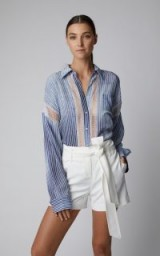 Ermanno Scervino Lace-Paneled Stripe Denim Shirt | sheer paneled shirts