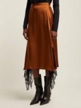 CHRISTOPHER KANE Lace-trimmed brown satin midi skirt