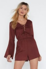 NASTY GAL Lace-Up Early Woven Tassel Romper in chocolate – brown front lace-up playsuit