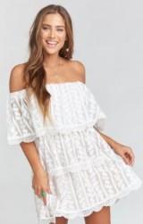 show me your Mumu LANA DRESS ~ DAINTY DARLING CROCHET LACE – bardot boho dress