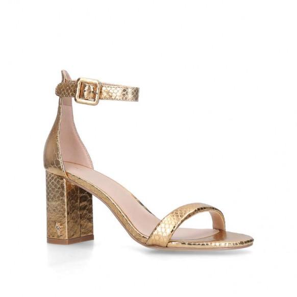 KURT GEIGER LONDON LANGLEY Gold Snake Effect Block Heel Sandals – metallic ankle strap shoes