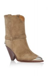 Isabel Marant Lamsy Calf Suede Boots in Tan ~ contemporary cowboy boot