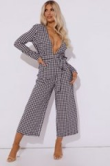 LAURA JADE BLACK GINGHAM PLUNGE JUMPSUIT ~ cropped wide leg ~ open back