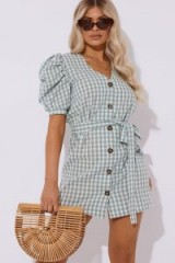 LAURA JADE GREEN GINGHAM PUFF SLEEVE MINI DRESS ~ summer style fashion
