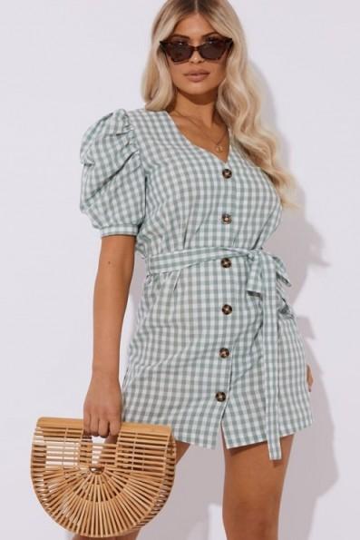LAURA JADE GREEN GINGHAM PUFF SLEEVE MINI DRESS ~ summer style fashion