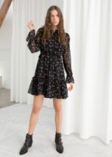 & other stories Layered Ruffle Dress in Black Floral   short prairie dresses